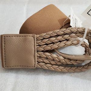 LOFT Beige Stretch Braid Buckle Belt (S) #657